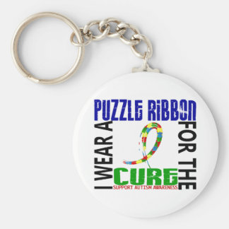 I Wear Puzzle Ribbon For The Cure 46 Autism Keychains