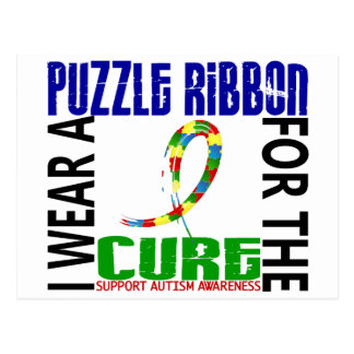 I Wear Puzzle Ribbon For The Cure 46 Autism Postcard