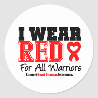 I Wear Red For All Warriors Classic Round Sticker