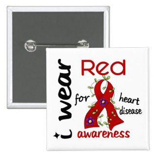 I Wear Red For Awareness 43 Heart Disease Button
