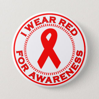 I Wear Red For Awareness Button