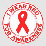 I Wear Red For Awareness Classic Round Sticker