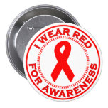 I Wear Red For Awareness Pin
