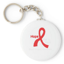 I Wear Red For Blood Cancer Awareness Fighting Keychain