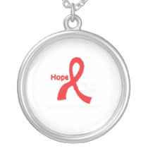 I Wear Red For Blood Cancer Awareness Fighting Silver Plated Necklace