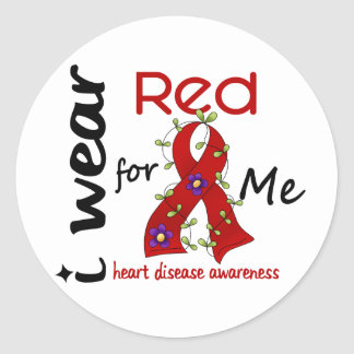 I Wear Red For Me 43 Heart Disease Classic Round Sticker