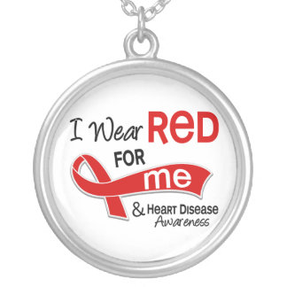 I Wear Red For Me Heart Disease Silver Plated Necklace