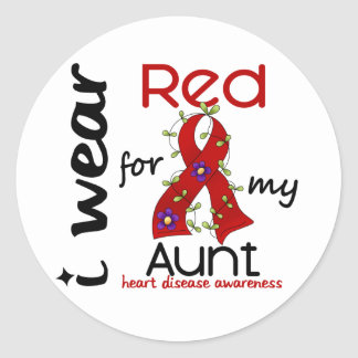 I Wear Red For My Aunt 43 Heart Disease Classic Round Sticker