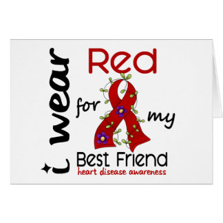 I Wear Red For My Best Friend 43 Heart Disease Greeting Card