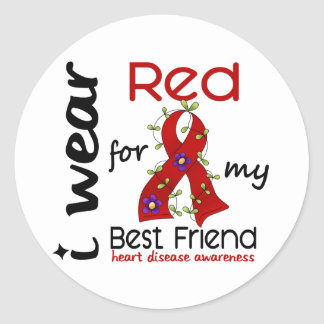 I Wear Red For My Best Friend 43 Heart Disease Classic Round Sticker