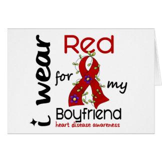 I Wear Red For My Boyfriend 43 Heart Disease Greeting Card