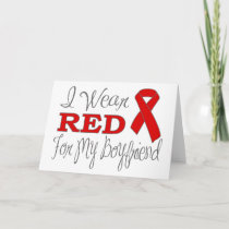 I Wear Red For My Boyfriend (Red Ribbon) Card