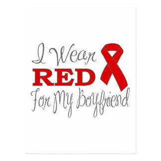 I Wear Red For My Boyfriend (Red Ribbon) Postcard
