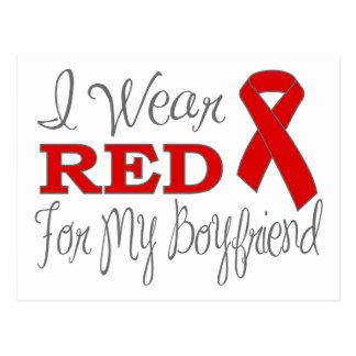 I Wear Red For My Boyfriend (Red Ribbon) Post Cards