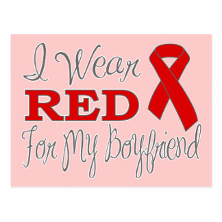 I Wear Red For My Boyfriend (Red Ribbon) Postcard