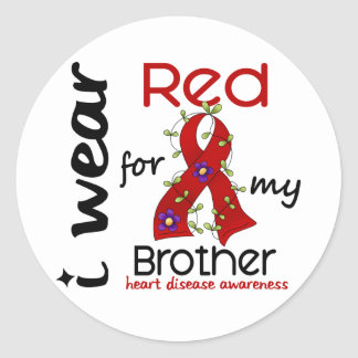 I Wear Red For My Brother 43 Heart Disease Classic Round Sticker