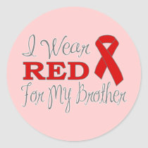I Wear Red For My Brother (Red Ribbon) Classic Round Sticker
