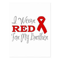 I Wear Red For My Brother (Red Ribbon) Postcard