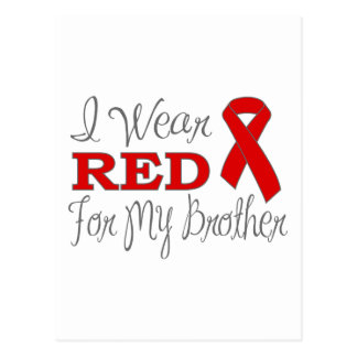 I Wear Red For My Brother (Red Ribbon) Post Card