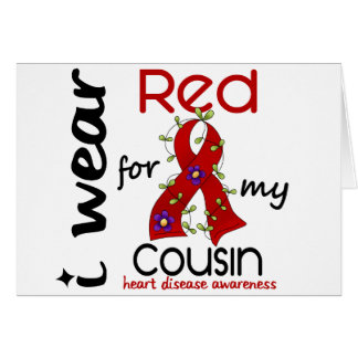 I Wear Red For My Cousin 43 Heart Disease Greeting Card