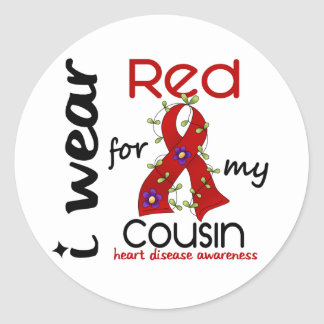 I Wear Red For My Cousin 43 Heart Disease Classic Round Sticker