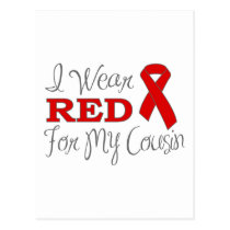 I Wear Red For My Cousin (Red Ribbon) Postcard