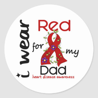 I Wear Red For My Dad 43 Heart Disease Classic Round Sticker