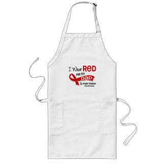 I Wear Red For My Dad Heart Disease Long Apron