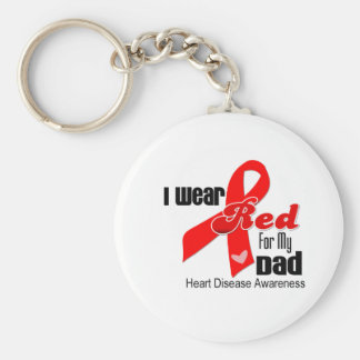 I Wear Red For My Dad Heart Disease Basic Round Button Keychain