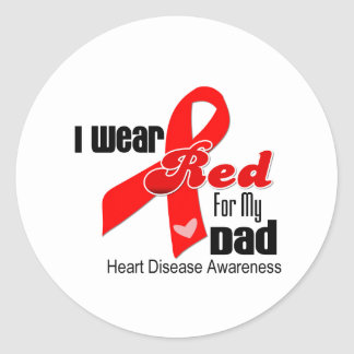 I Wear Red For My Dad Heart Disease Classic Round Sticker