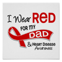 I Wear Red For My Dad Heart Disease Poster