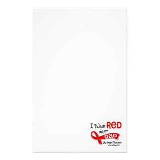 I Wear Red For My Dad Heart Disease Custom Stationery
