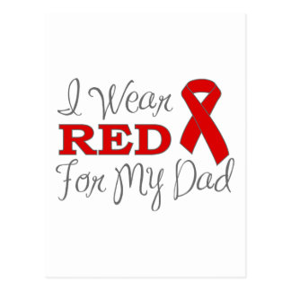I Wear Red For My Dad (Red Ribbon) Postcards