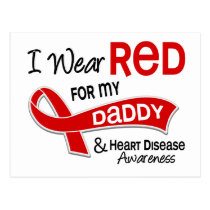 I Wear Red For My Daddy Heart Disease Postcard
