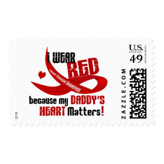 I Wear Red For My Daddy's Heart 33 Postage Stamp