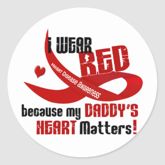 I Wear Red For My Daddy's Heart 33 Classic Round Sticker