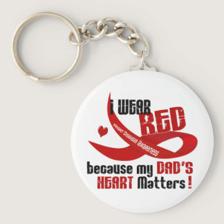 I Wear Red For My Dad's Heart 33 Keychain