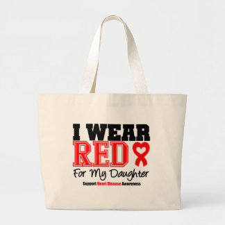 I Wear Red For My Daughter Jumbo Tote Bag