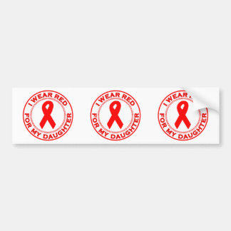 I Wear Red For My Daughter Bumper Sticker