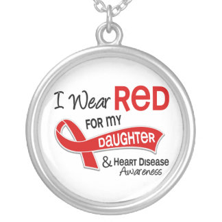 I Wear Red For My Daughter Heart Disease Silver Plated Necklace
