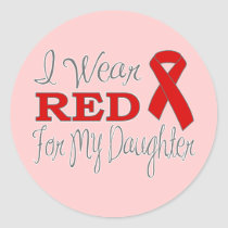 I Wear Red For My Daughter (Red Ribbon) Classic Round Sticker