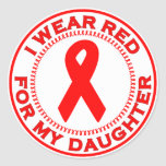 I Wear Red For My Daughter Sticker