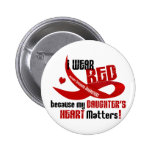 I Wear Red For My Daughter's Heart 33 Pinback Button