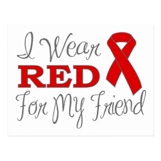 I Wear Red For My Friend (Red Ribbon) Postcards