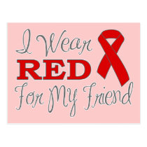 I Wear Red For My Friend (Red Ribbon) Postcard