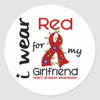 I Wear Red For My Girlfriend 43 Heart Disease Classic Round Sticker