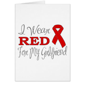 I Wear Red For My Girlfriend (Red Ribbon) Greeting Cards