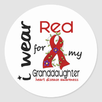 I Wear Red For My Granddaughter 43 Heart Disease Classic Round Sticker