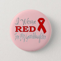 I Wear Red For My Granddaughter (Red Ribbon) Button