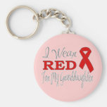 I Wear Red For My Granddaughter (Red Ribbon) Basic Round Button Keychain